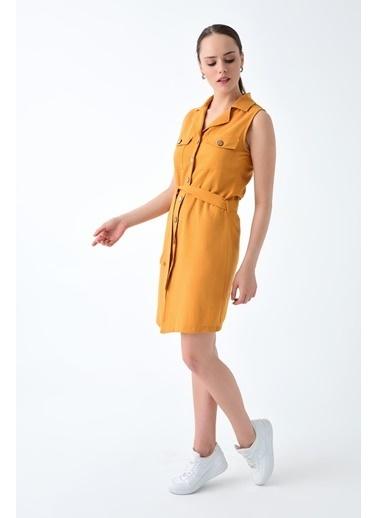 Cottonmood 9221593 Keten Ceket Yaka Düğmeli Elbise Vizon Hardal